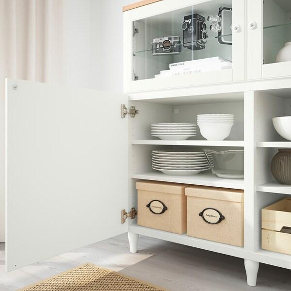 BESTÅ Kombinacja z drzwiami, biały/Smeviken/Kabbarp białe szkło przezroczyste, 180x42x114 cm