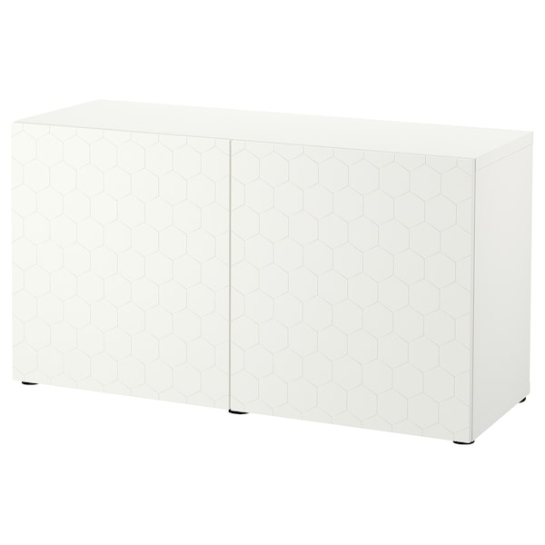 BESTÅ Kombinacja z drzwiami, biały/Vassviken biały, 120x42x65 cm
