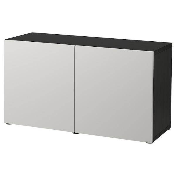 BESTÅ Kombinacja z drzwiami, czarnybrąz/Lappviken jasnoszary, 120x42x65 cm