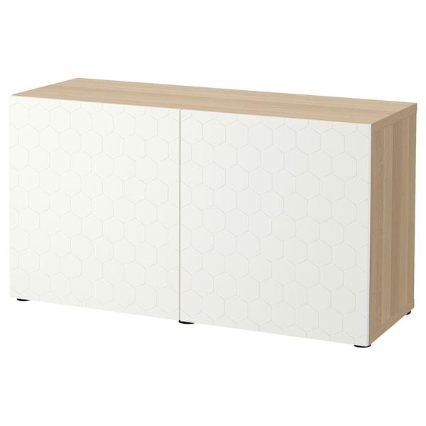 BESTÅ Kombinacja z drzwiami, dąb bejcowany na biało/Vassviken biały, 120x42x65 cm