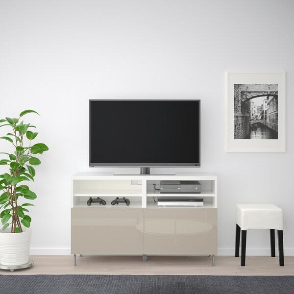 BESTÅ Ława TV z drzwiami, biały/Selsviken/Stallarp wysoki połysk beż, 120x42x74 cm