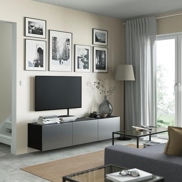 BESTÅ Ława TV z drzwiami, czarnybrąz/Riksviken efekt szczotkowanej ciemnej cyny, 180x42x38 cm