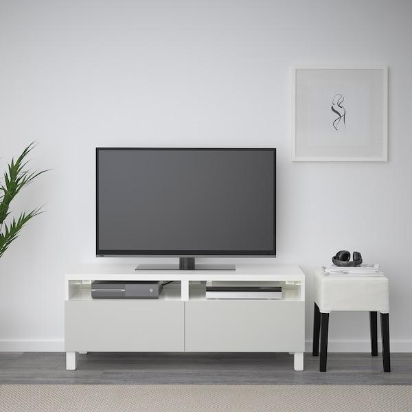BESTÅ Ława TV z szufladami, biały/Lappviken/Stubbarp jasnoszary, 120x42x48 cm