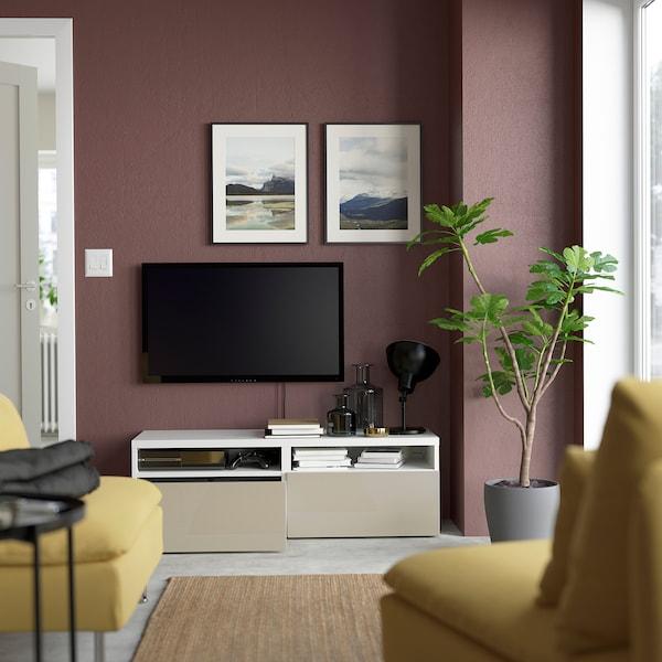 BESTÅ Ława TV z szufladami, biały/Selsviken wysoki połysk beż, 120x42x39 cm