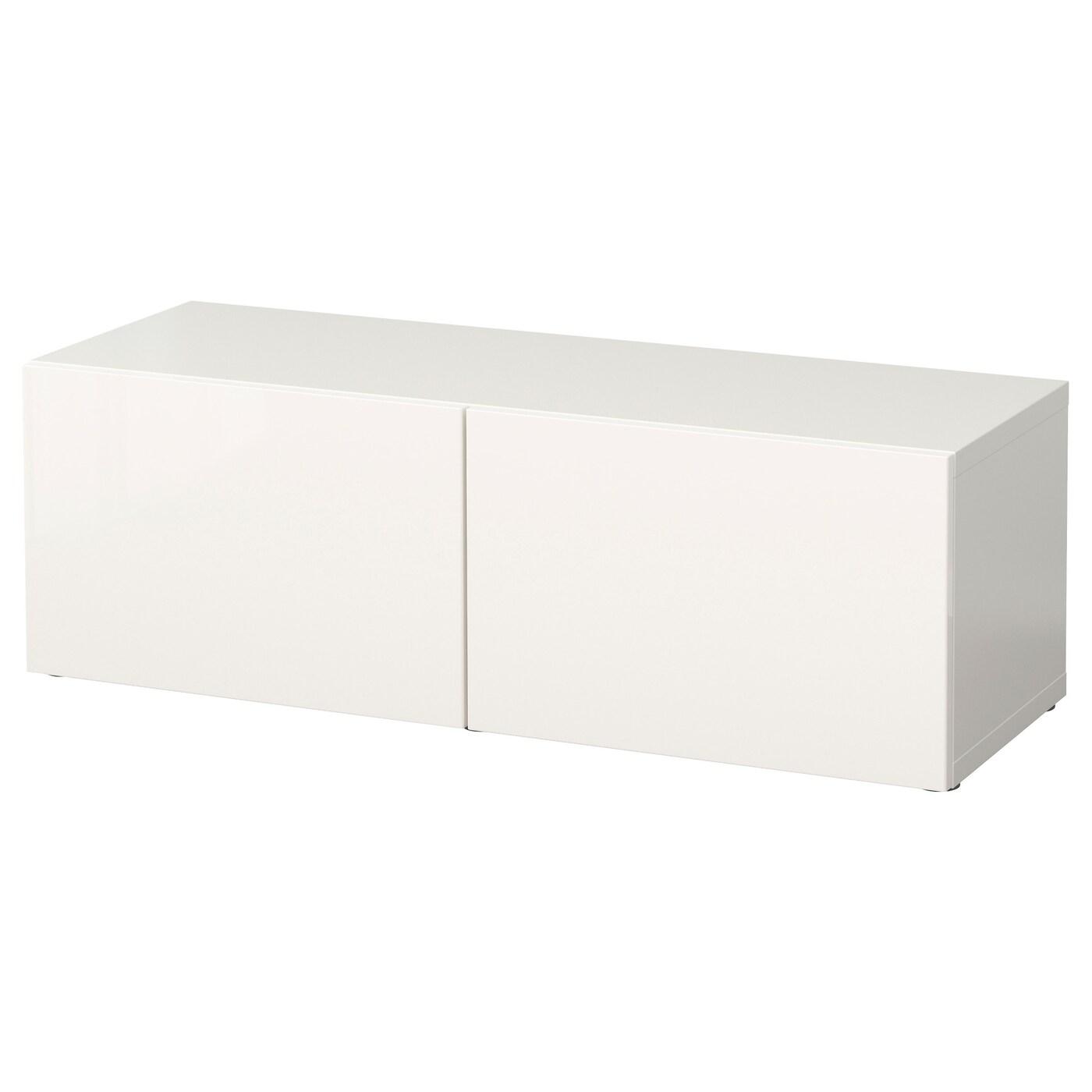 IKEA BESTÅ biała szafka z parą białych drzwiczkami SELSVIKEN o wysokim połysku, 120x40x38 cm