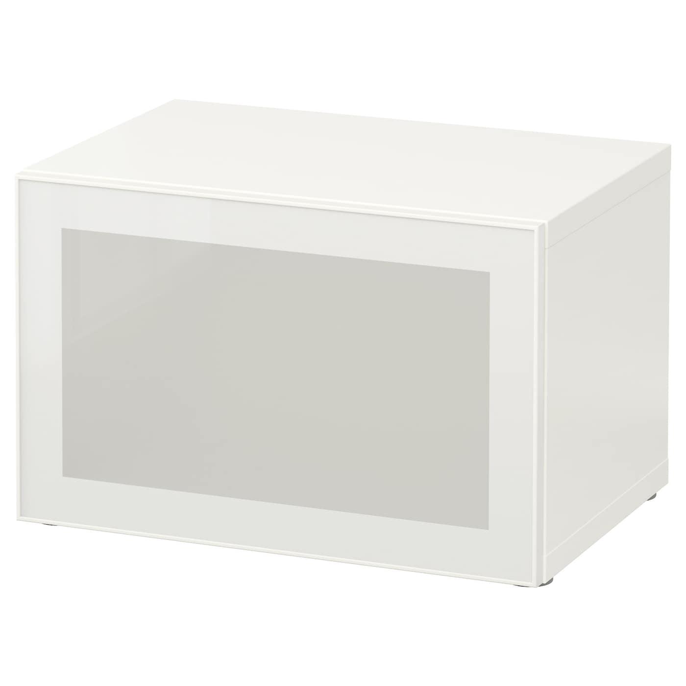 IKEA BESTÅ, 60x40x38 cm, biała witryna z białymi drzwiami GLASSVIK z panelem ze szkła matowego