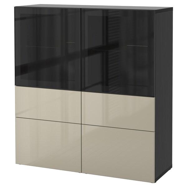 BESTÅ regał/szklane drzwi czarnybrąz/Selsviken wysoki połysk/ beż szkło bezbarwne 120 cm 40 cm 128 cm