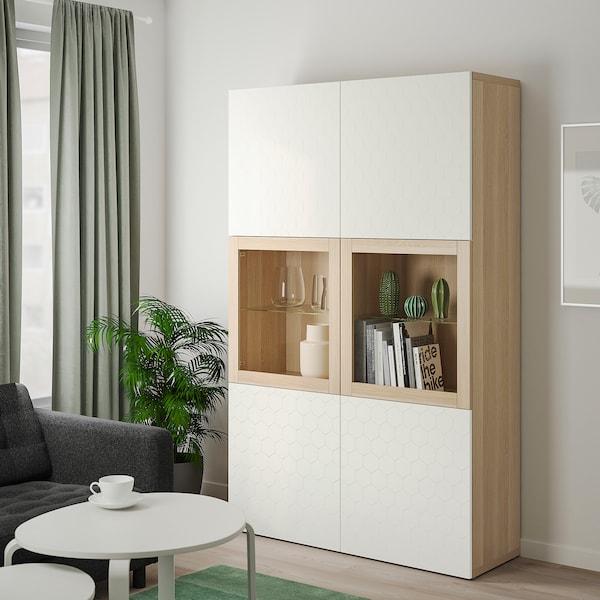 BESTÅ regał/szklane drzwi dąb bejcowany na biało/Vassviken białe szkło przezroczyste 120 cm 40 cm 192 cm