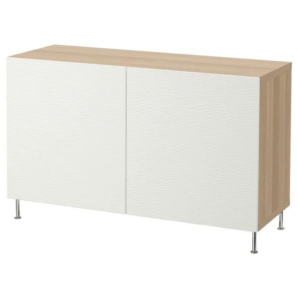 BESTÅ kombinacja z drzwiami dąb bejcowany na biało/Laxviken/Stallarp biały 120 cm 40 cm 74 cm