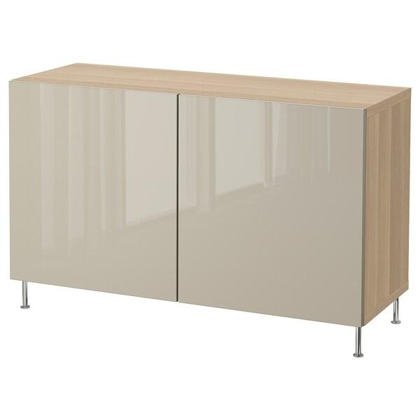 BESTÅ kombinacja z drzwiami dąb bejcowany na biało/Selsviken/Stallarp wysoki połysk beż 120 cm 40 cm 74 cm