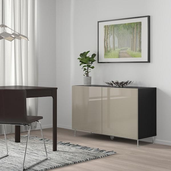 BESTÅ kombinacja z drzwiami czarnybrąz/Selsviken/Stallarp wysoki połysk beż 120 cm 40 cm 74 cm