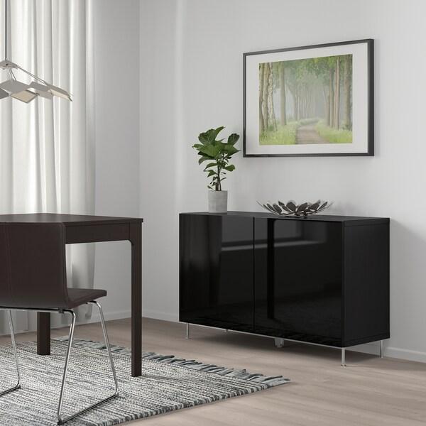 BESTÅ kombinacja z drzwiami czarnybrąz/Selsviken/Stallarp połysk/czarny 120 cm 40 cm 74 cm