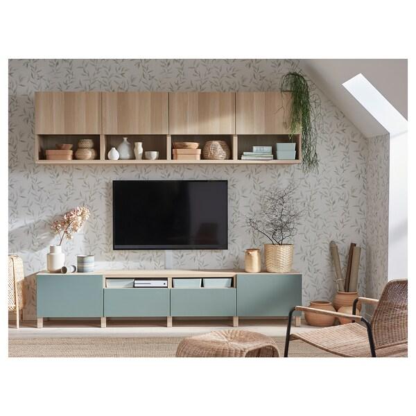 BESTÅ Szafka pod TV, dąb bejcowany na biało Lappviken/Notviken/Stubbarp szarozielony, 240x42x230 cm