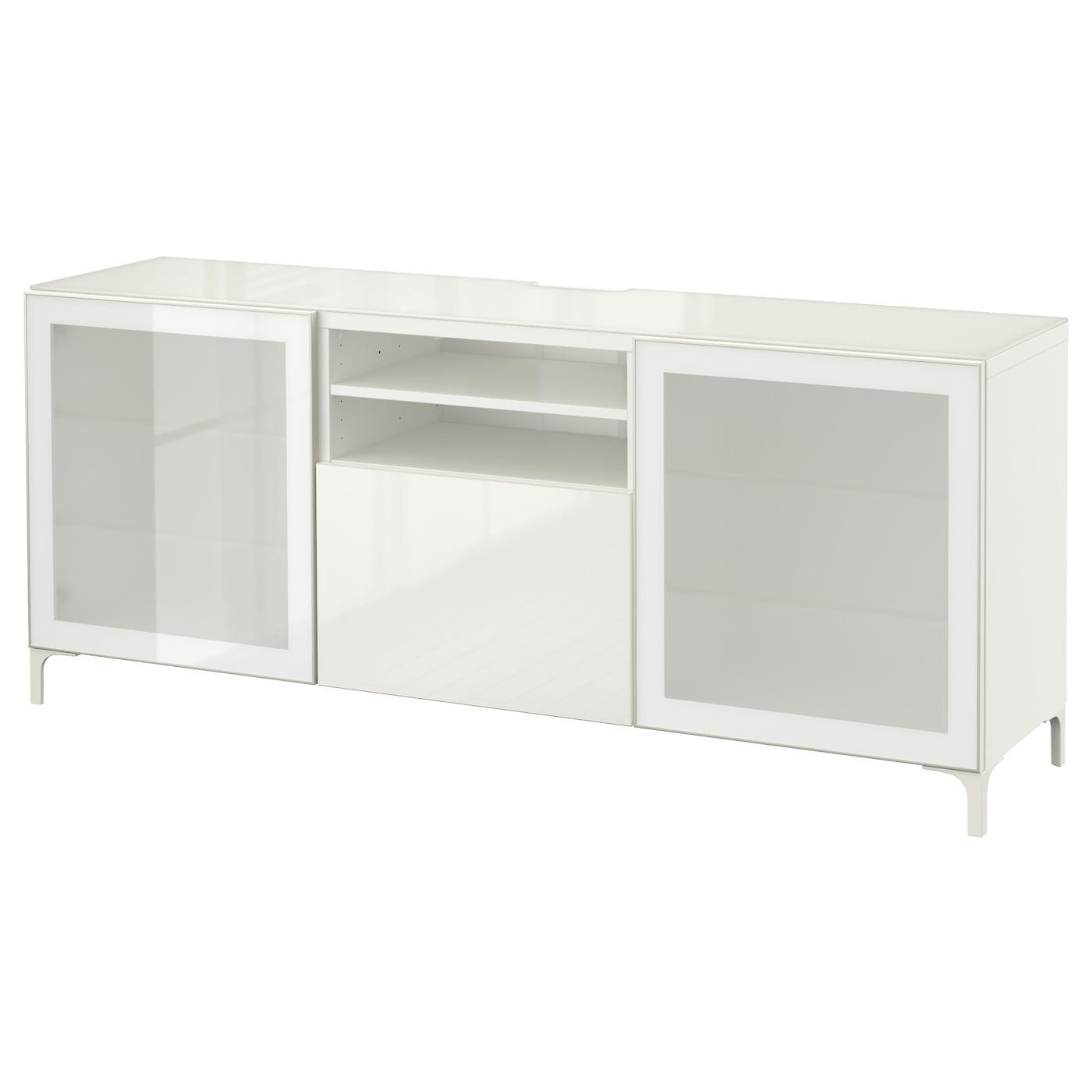 IKEA BESTÅ Szafka pod TV, biały, Selsviken wysoki połysk biały szkło matowe, 180x40x74 cm