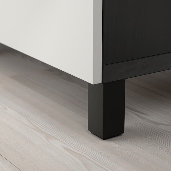 BESTÅ ława TV z szufladami czarnybrąz/Lappviken/Stubbarp jasnoszary 120 cm 42 cm 48 cm 50 kg