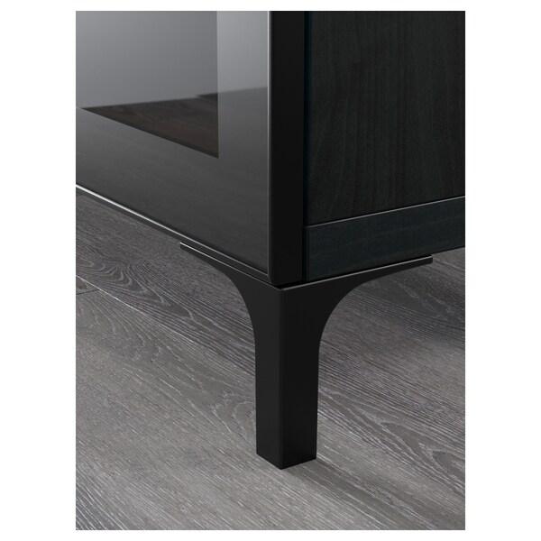 BESTÅ ława TV z szufladami czarnybrąz/Selsviken połysk/czarne przezroczyste szkło 180 cm 40 cm 74 cm 50 kg