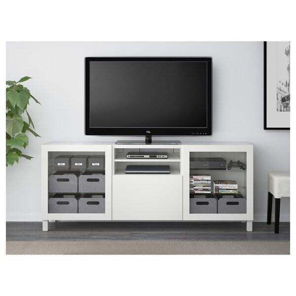 BESTÅ ława TV z szufladami Lappviken/Sindvik białe szkło przezroczyste 180 cm 40 cm 74 cm 50 kg