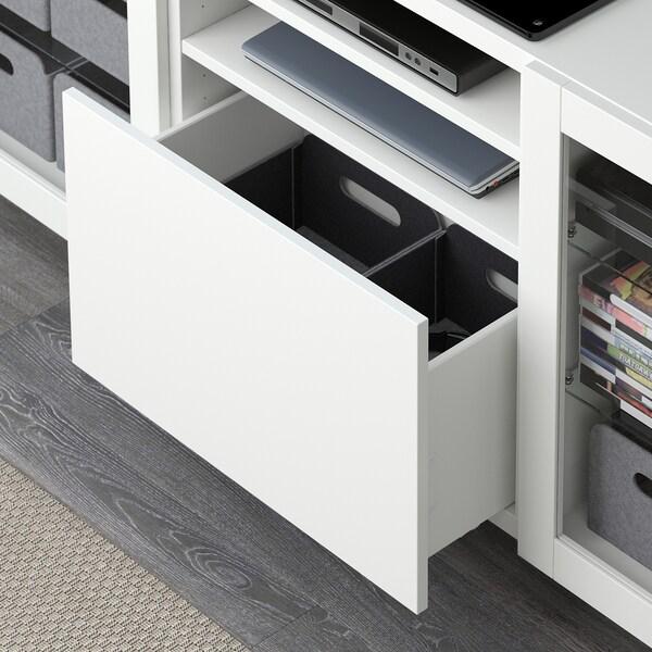 BESTÅ ława TV z szufladami biały/Lappviken/Stallarp białe szkło przezroczyste 180 cm 42 cm 74 cm 50 kg