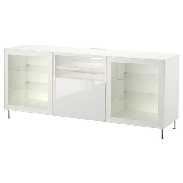 BESTÅ ława TV z szufladami biały/Selsviken/Stallarp wysoki połysk biały szkło bezbarwne 180 cm 42 cm 74 cm 50 kg