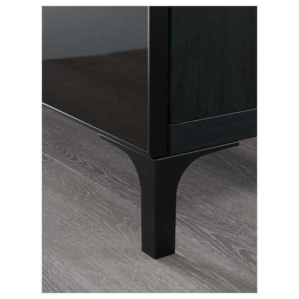 BESTÅ ława TV z szufladami czarnybrąz/Selsviken wysoki połysk/czarny dymione szkło 180 cm 40 cm 74 cm 50 kg
