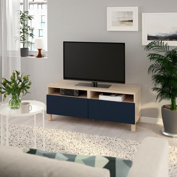 BESTÅ ława TV z szufladami dąb bejcowany na biało/Notviken/Stubbarp niebieski 120 cm 42 cm 48 cm 50 kg