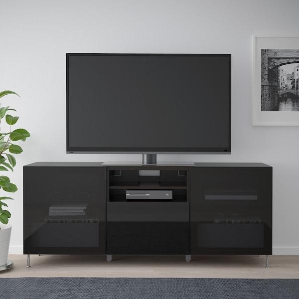 BESTÅ ława TV z szufladami czarnybrąz/Selsviken/Stallarp wysoki połysk/czarny dymione szkło 180 cm 42 cm 74 cm 50 kg
