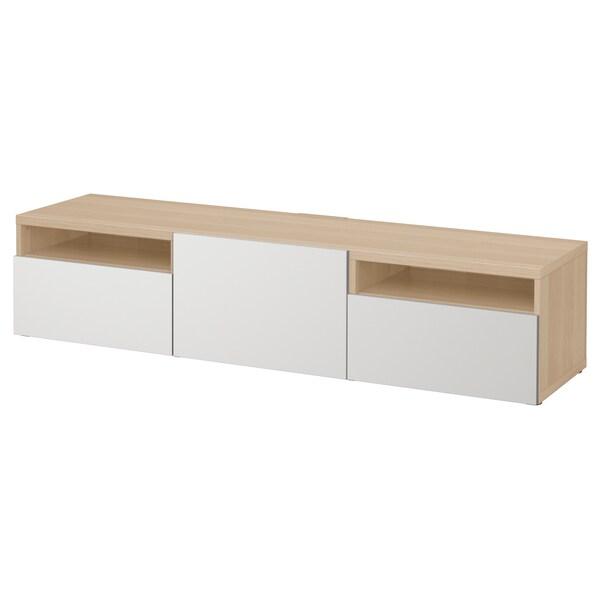 BESTÅ szafka pod TV dąb bejcowany na biało/Lappviken jasnoszary 180 cm 42 cm 39 cm 50 kg