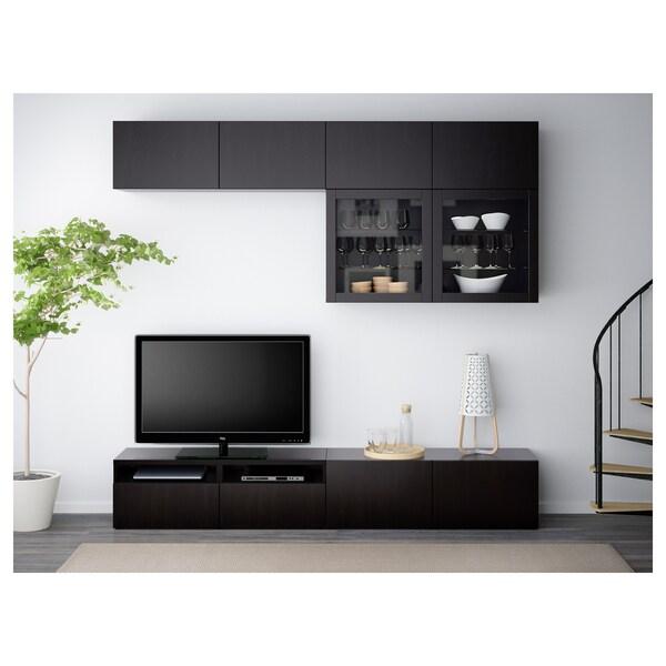 BESTÅ kombinacja na TV/szklane drzwi Lappviken/Sindvik czarnobrązowe szkło przezroczyste 240 cm 40 cm 230 cm