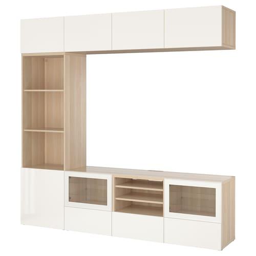 BESTÅ kombinacja na TV/szklane drzwi dąb bejcowany na biało/Selsviken wysoki połysk biały szkło bezbarwne 240 cm 40 cm 230 cm