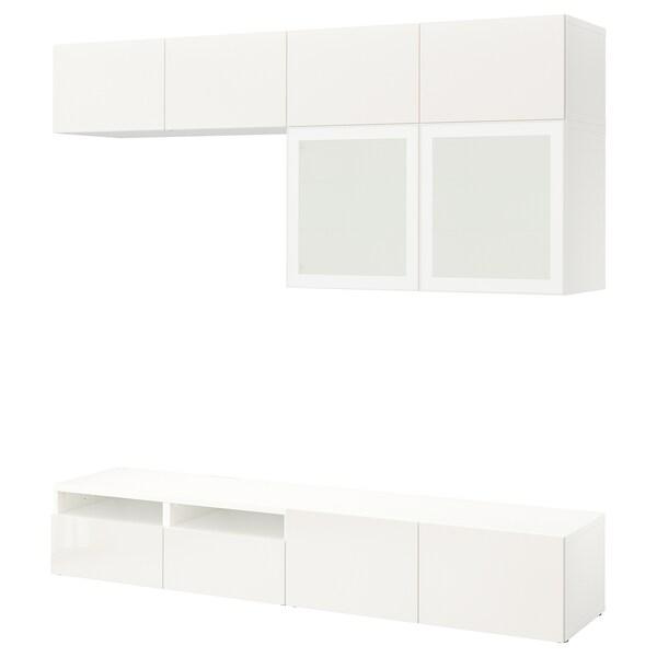 """BESTÅ kombinacja na TV/szklane drzwi biały/Selsviken wysoki połysk biały szkło matowe 240 cm 40 cm 230 cm 10 kg 70 """""""