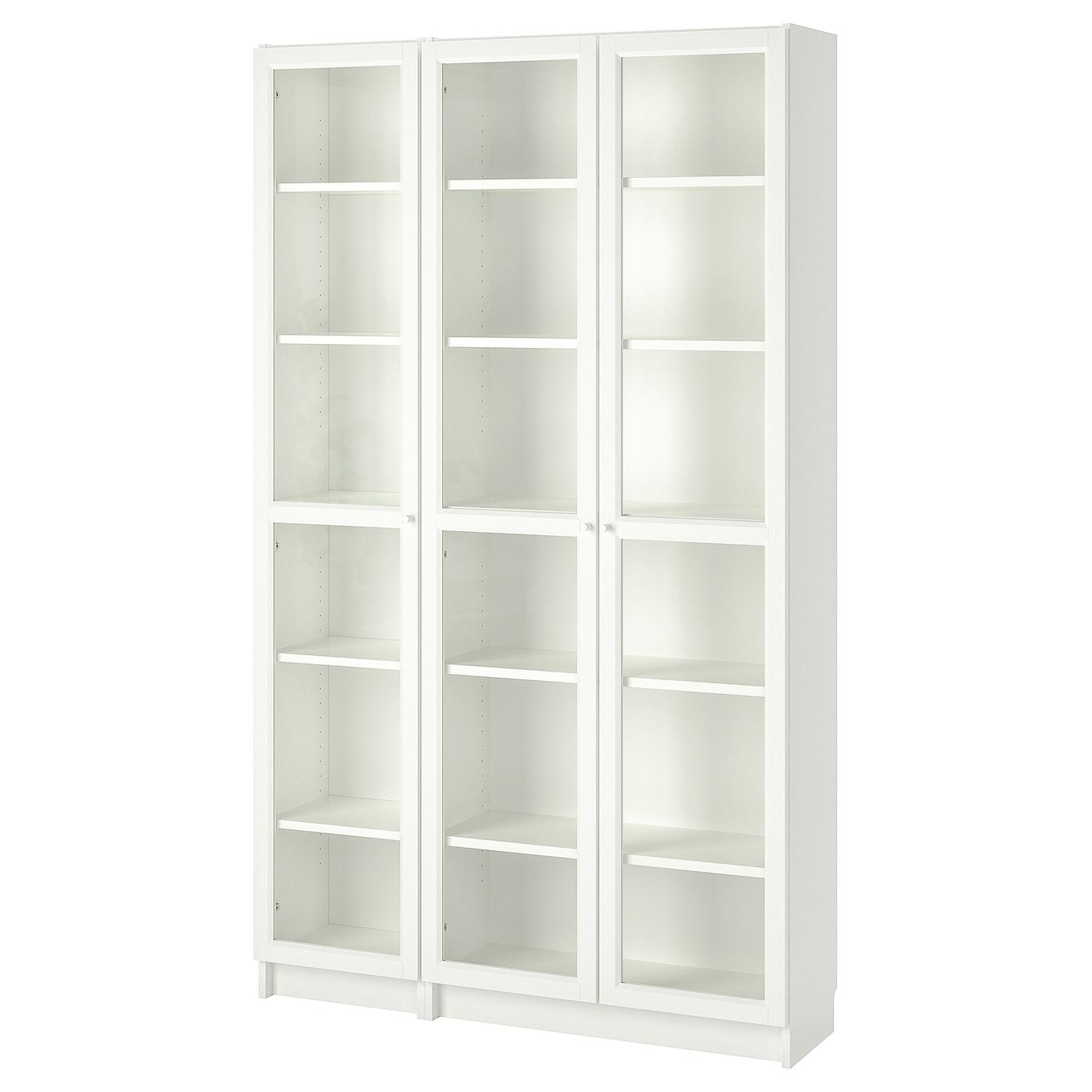 IKEA BILLY / OXBERG Witryna, biały, 120x30x202 cm
