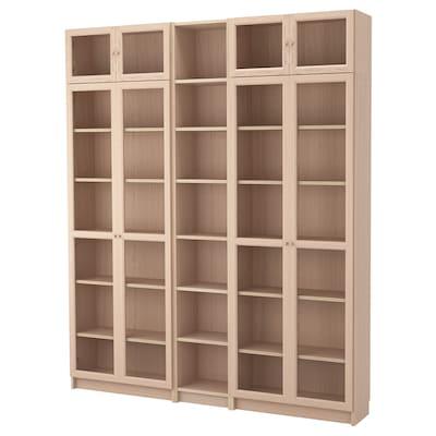 BILLY / OXBERG Kombinacja regałowa/szklane drzwi, okleina dębowa bejcowana na biało/szkło, 200x30x237 cm