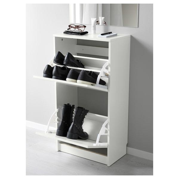 BISSA Szafka na buty, 2 przegrody, biały, 49x28x93 cm