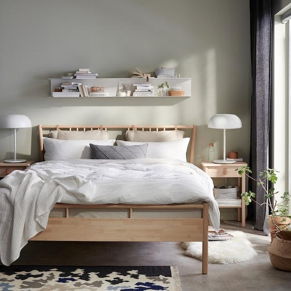 BJÖRKSNÄS Rama łóżka, brzoza/Lönset, 140x200 cm
