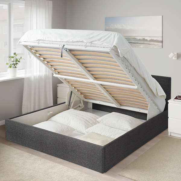 BJORBEKK Łóżko z pojemnikiem, szary, 140x200 cm