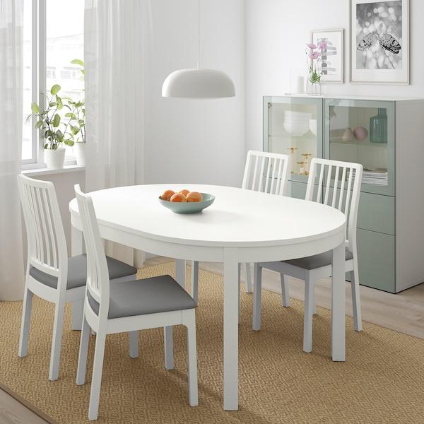BJURSTA / EKEDALEN Stół i 4 krzesła, biały/Orrsta jasnoszary, 115 cm