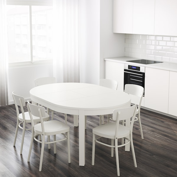 BJURSTA Stół rozkładany, biały, 115/166 cm