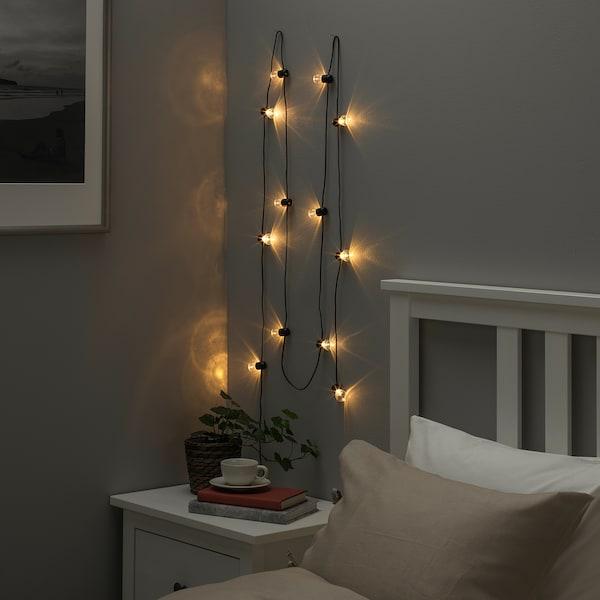 BLÖTSNÖ Girlanda LED, 12 lampek, do wnętrz/na baterie czarny