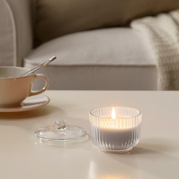 BLOMDOFT Świeca zapachowa w szkle, Mieczyki/szary, 9 cm