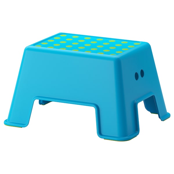 BOLMEN Stołek ze schodkiem, niebieski