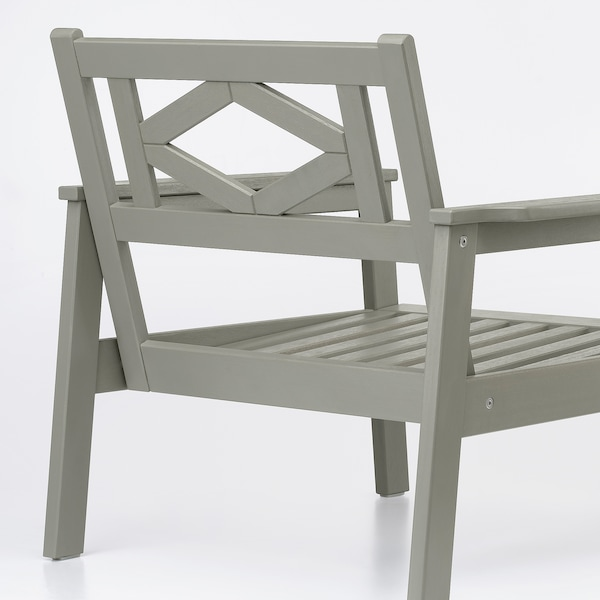BONDHOLMEN Fotel ogrodowy, szara bejca/Kuddarna beżowy