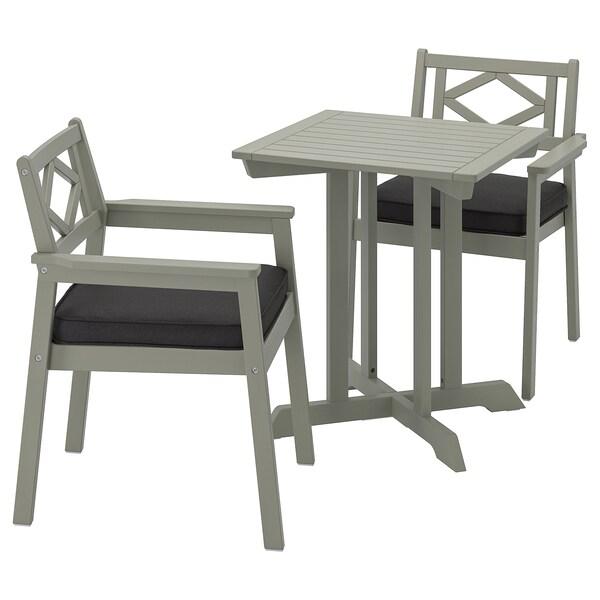 BONDHOLMEN Stół + 2 krzesła z podł, ogrodowe, szara bejca/Järpön/Duvholmen antracyt