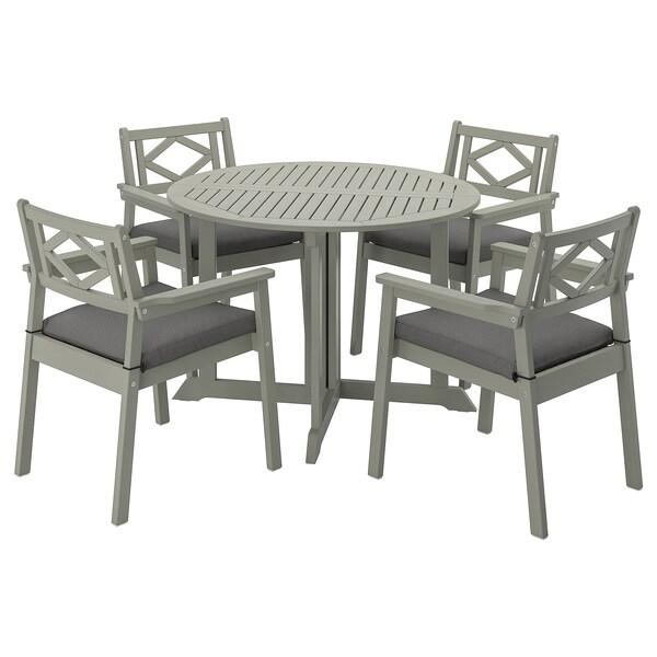 BONDHOLMEN Stół+4 krzesła z podłok., na zew., szara bejca/Frösön/Duvholmen ciemnoszary