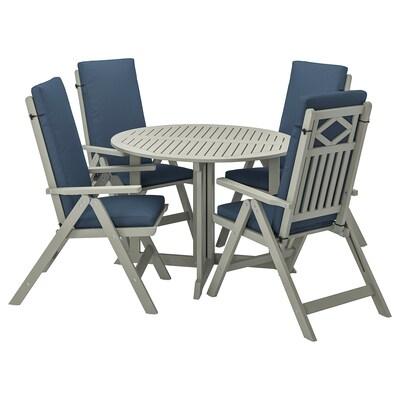 BONDHOLMEN Stół+4 rozkł. krzeseł, na zewnątrz, szara bejca/Frösön/Duvholmen niebieski