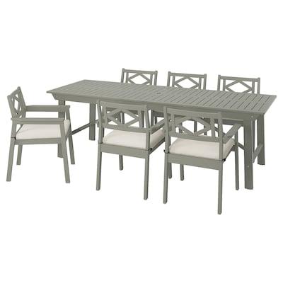 BONDHOLMEN Stół+6 krzeseł z podłok., na zew., szara bejca/Frösön/Duvholmen beżowy