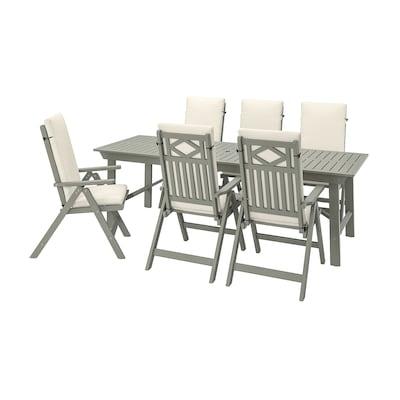 BONDHOLMEN Stół+6 rozkł. krzeseł, na zewnątrz, szara bejca/Frösön/Duvholmen beżowy