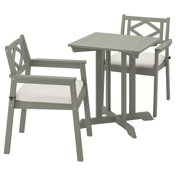BONDHOLMEN stół + 2 krzesła z podł, ogrodowe szara bejca/Frösön/Duvholmen beżowy