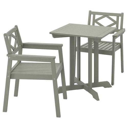 BONDHOLMEN stół + 2 krzesła z podł, ogrodowe szara bejca