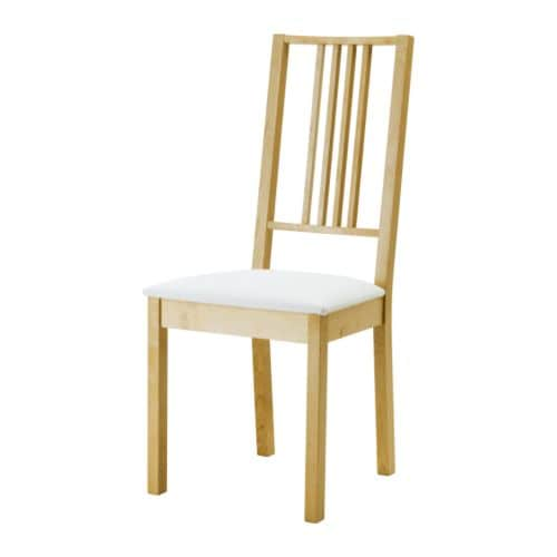 BÖRJE Krzesło , brzoza, Gobo biały Szerokość: 44 cm Głębokość: 55 cm Szerokość siedziska: 37 cm Głębokość siedziska: 41 cm Wysokość siedziska: 47 cm Wysokość: 100 cm / 100 cm