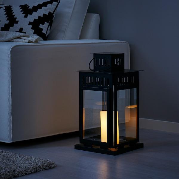 BORRBY Lampion, do wewnątrz/na zewnątrz czarny, 44 cm
